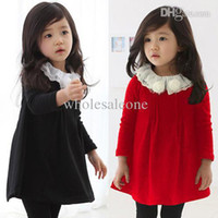 Cheap Discount 2014 Spring Flowers Korean Lace Collar Long-sleeved Dress Womens Clothes Children Son Girl Kids
