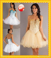 Wholesale 2014 Classic Designer Corset Crystals Ball Gowns Sweetheart White Sequins Short Graduation Dresses Prom Evening Homecoming dress gown