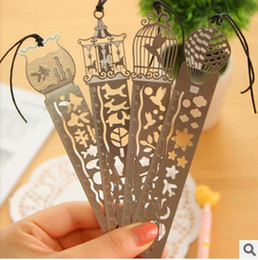 Wholesale 2014 Hollow thin Mini Metal Bookmark graduated ruler Cartoon Book marks FreeShipping