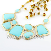 Cheap New Fashion Costume Jewelry Big Size High Quality Blue Collar Statement Necklace For Women 2014