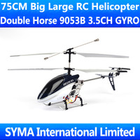 Cheap 75CM 29inch Double Horse 9053B DH9053B 3.5CH Gyro Radio Remote Electric Control Big RC Helicopter RTF Metal Toys 1300mAh Battery