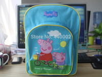 Backpacks Nylon Men Peppa pig 15pcs Lot new style Peppa pig children bags preschool students backpack pig lovely blue school bag high quality