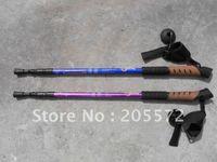 Cheap 10PCS Lot Free Shipping 3 Sections Cork Grip with Wrist Guard Hiking Stick , Nordic walking stick , Trekking pole