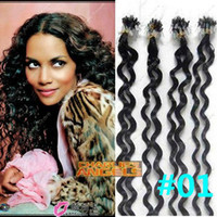 Wholesale 400strands inch cm jerry curl Micro Ring Human Hair Extension Black Colors Optional DHL