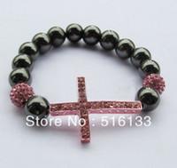 Wholesale Rhinestones Hematite Sideways Cross Shamballa Bracelets color options