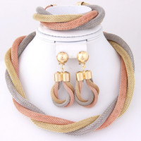 costume jewelry necklace - Fashion Dubai African Costume Necklace Bracelet Earrings K Gold Plated Women Party Costume Jewelry Sets