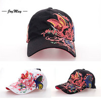 Wholesale 10X New Adjustable Bone Baseball Cap Fashion Summer Butterflies Flowers Embroidery Jean Snapback Caps Hat Sport Hats For Women