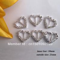 diamante buckles - CM10 mm innner bar Heart Crystal Diamante Rhinestone Buckle Invitation Ribbon Slider