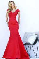 Cheap 2014 Modern Design Sexy Elegant Red Mermaid Satin Evening Dresses Prom Party Gowns With V Neck Short Sleeve Lace Applique Backless SSJ N289