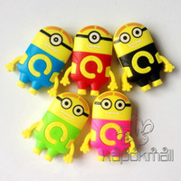 Wholesale 50pcs Cute Minions Style Mp3 Player Box USB Cable Earphone Support Micro TF SD Card Rechargeable