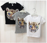 tiger print - 5pcs girls and boys fashion korea design tiger printed t shirt kids cotton tops