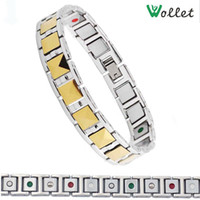 Wholesale new fashion men jewelry bracelet infrared germanium tourmaline carbide gold filled magnetic men tungsten bracelet