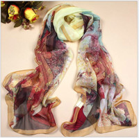 Wholesale 14 styles NEW Autumn winter Georgette printed A long paragraph Real silk Decorative scarves Silk scarves FZSWJ001