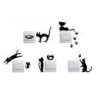 Wholesale 1 Set of Black Cute Switch Sticker Cat Pattern Bedroom Wall Sticker Home Decor