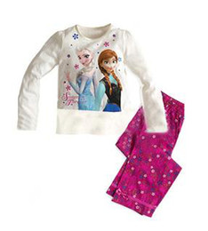 Wholesale New baby girls frozen pajamas suits children kids summer clothing sets child princess Anna Elsa clothes for T top quality