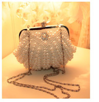 beaded bridal purse - Full Hand Pearls Beaded Evening Bridal Hand Bags Diamond Mini Women Handbags White Ivory Champagne Clutch Purse Wedding Party Chain