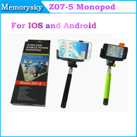 Wholesale Z07 Monopods Wireless Bluetooth selfie stick Extendable Monopod Tripod With Shutter Release Over ios android Smartphone for S5 S