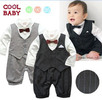 Boy Spring / Autumn Long Sleeve Autumn baby boys striped romper with bowtie Gentleman modeling infant long-sleeved baby clothes Fashion baby bodysuit