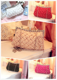 Wholesale Gorgeous Wedding Bridal Hand Bags Weave Evening Party Bag Handbags High Quality Diamond Austria Silk Purse Multicolour