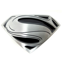 Wholesale New Western DC Cowboy Black Silver Superman Superhero Mens Metal Belt Buckle