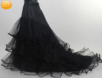 Cheap Fashion Long Full Length A-line Black Tulle Net Wedding Prom Petticoat with Ruched Edge Layered A-line Court Train Skirt Crinoline
