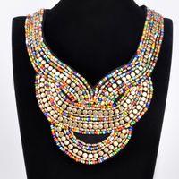 Cheap Fashion Lady Bohemia Black Ribbon Colorful Jewelry Chain Handmade Resin Seed Beads Choker Statement Necklace