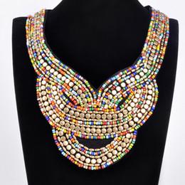 new Fashion Lady Bohemia Black Ribbon Colorful Jewelry Chain Handmade Resin Seed Beads Choker Statement Necklace