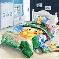 Wholesale Pikachu kid boys girls duvet cover sheet pillowslips sets single twin children s bedding sets gift bed linen