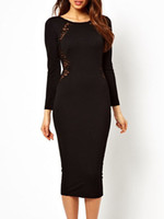 Cheap 2014 New Vestidos Long Sleeves Sexy Lace Inset Back Midi Dress Women Spring Autumn Clothes B4944
