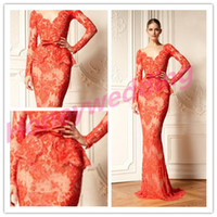 Wholesale Ssj Illusion Celebrity Dresses Long Sleeves Deep V Neck Lace Appliques Tulle See Through Peplum Evening Gowns Women Formal Dress Gown