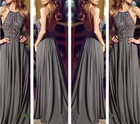 Wholesale Custom Made Grey Long Formal Dress Tank Top With Spaghetti Straps Backless Evening Dress Beaded Prom Dress Chiffon Evening Gown