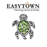 animal charms - animal turtle charms with crystal fit floating living locket and