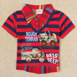 Wholesale nova baby boys clothing hot sale children polos cars embroidery red navy stripes shirts t shirts kids cotton tops C2738
