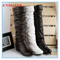 winter boots - ENMAYER big size Newest Winter Mid Calf Women Boots Black White And Brown For Choice