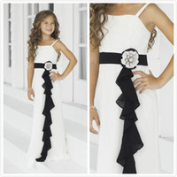 black and white flower girl dresses - New White and Black Flower Girls Dresses A Line Spaghetti strap Sash Beads Floor length Chiffon Girls Formal Dress