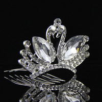 Wholesale Pink White Blue RhinestoneMini Crown Tiaras Little Swan Wedding headdress Bridal accessories Hair ornaments