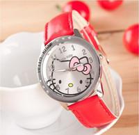 Wholesale 2014 Newest Luxury Crystal Diamond KITTY Cat Design Wristwatches Girls Quartz Watch with PU Leather Strap