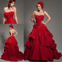 Wholesale Charming Red Taffeta Strapless A Line Sweep Train With Pleats and Handmade Flower Backless Bridal Gown Wedding Dress AN269