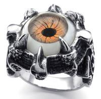 silver eagle - factory price Men s Cool Brown Eagle Eye Ball Ring Men Boys Silver Beast Dragon Claw Rings Fleur De Lis JEWELRY New
