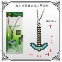 Wholesale Minecraft Diamond Pickaxe necklace Minecraft Diamond character logo necklace hot in