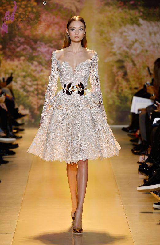 2014 christmas short wedding dresses lace long sleeve knee length deep