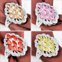 Cheap Mix Color 2pcs lot Christmas Holiday Jewelry Gift FREE SHIPPING Citrine Red Quartz Morganite Pink Kunzite Gems 925 Sterling Silver Ring