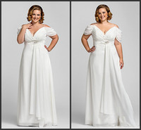 split shorts - 2014 Popular Style Empire Beach Plus Size Wedding Dresses Off Shoulder Short Sleeve Beads Ruched Chiffon Bridal Gowns Custom Made W320