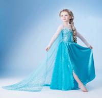 Cheap baby girl frozen dresses new costume dress for kids frozen girls dress clothing dress snow Romance children dress Cosplay anna elsa W658