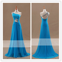 Cheap Real Pictures 2015 Sexy Blue Prom Dresses One Shoulder Sequins Beads Ruffle Criss Cross Backless Evening Gowns Sleeveless Zipper Sweep Train