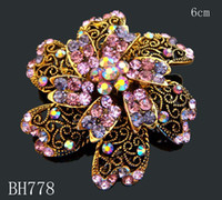 lots costume jewelry - hot sale women wedding costume jewelry Zinc alloy rhinestone flower vintage crystal brooch mixed color BH778
