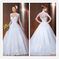 2014 Sheer Bridal Jacket - New Arrival Cheap Church Wedding Dresses With Jacket Sweetheart Covered Long Sleeve Sheer Bridal Gowns A Line Applique Prom Gown