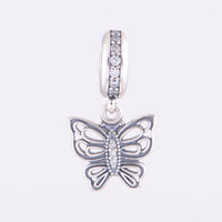 Wholesale Beads For Pandora Style Sterling Silver Beads Vintage Butterfly Pendant Charm Vintage Butterfly Pendant Charm No Lw371