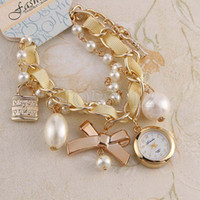 Wholesale 100 Handmade Pearl Bowknot Bracelet Watch For Women Dress Watches Rose Gold Fashion Luxury Brand Elegant Quartz Watches