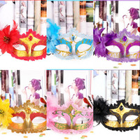 Wholesale In Stock Mix Order Feather Colorful Half Faces Eye Masks with Flower and Blink Crystal Masquerade Mardi Gras Venetian Halloween Costume Mask